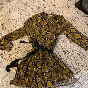 Zara snake print tie waisted long sleeve dress, L